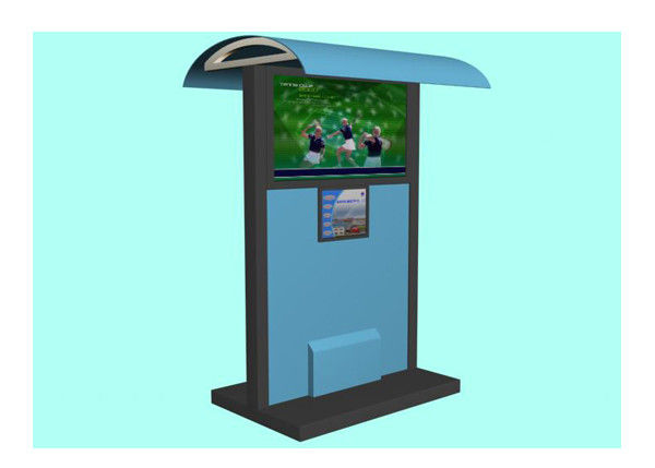 Multimedia Advertising Waterproof Kiosk , LCD Touch Screen Outdoor Kiosks System with Shelter