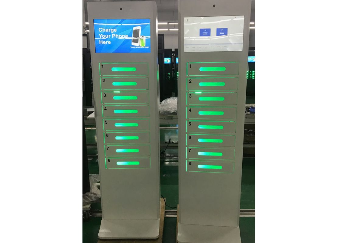 Malls Event digital Cell Phone Charging Station Kiosk tower with  Secured Lockers and ads screen and UV light